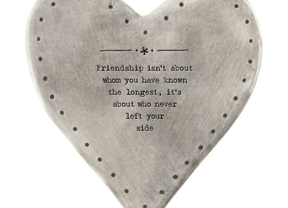 East Of India Rustic Heart Coaster Friendship About The Longest