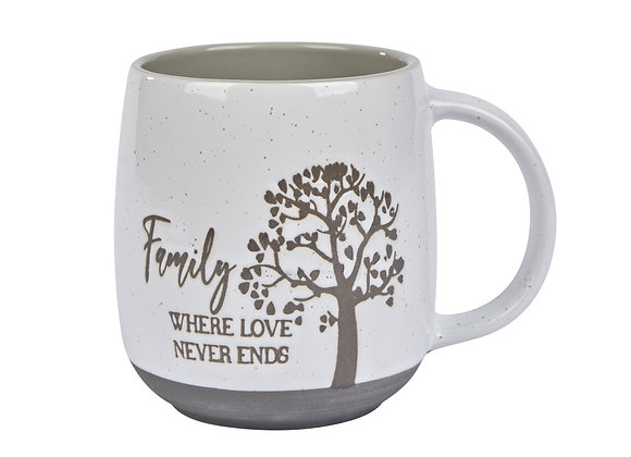 Family Where Love Never Ends Mug