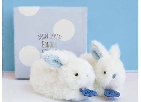 Blue Plush Rattle Baby Slippers
