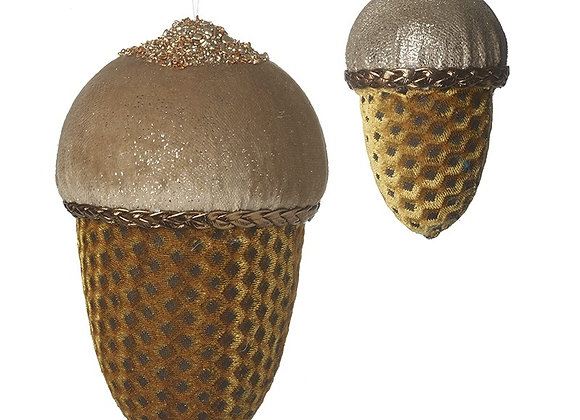 Set Of 2 Hanging Fabric Acorns