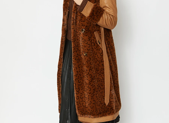 Faux Fur Suede Leopard Print Coat