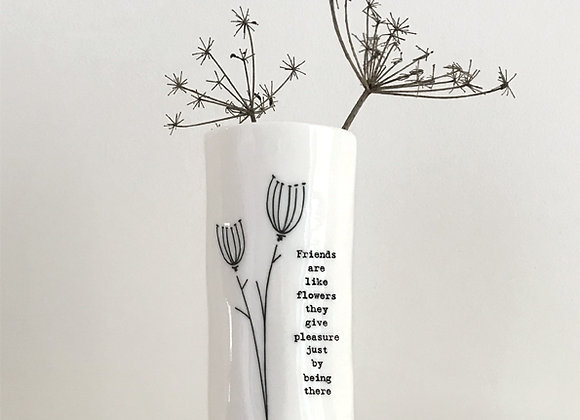 East Of India Medium Porcelain Vase Friends Are Like Flowers