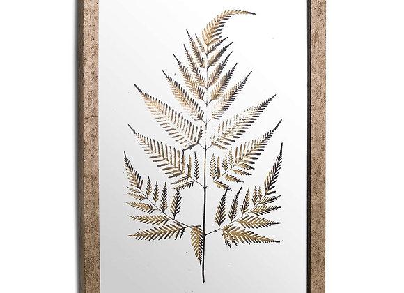 Metallic Mirrored Brass Fern Wall Art