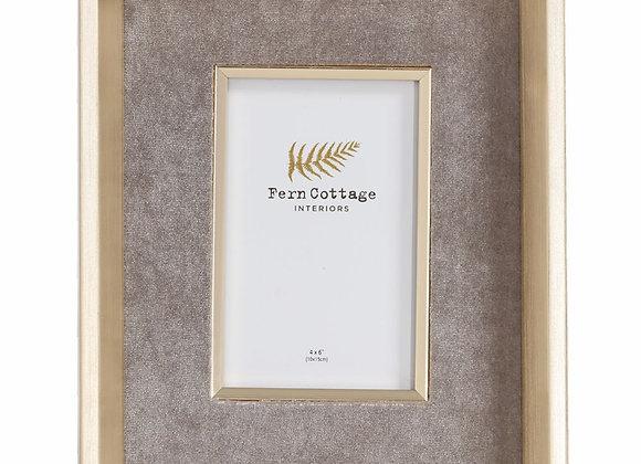 Grey Velvet In Deep Gold Frame 4x6