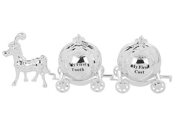 Silver Horse Cinderella Carriage First Tooth And Curl Gift