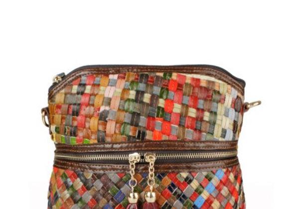 Multi Colour Plait Leather Cross Body Bag