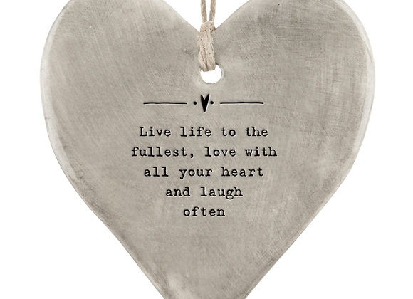 East Of India Rustic Hanging Heart Live Life To The Fullest