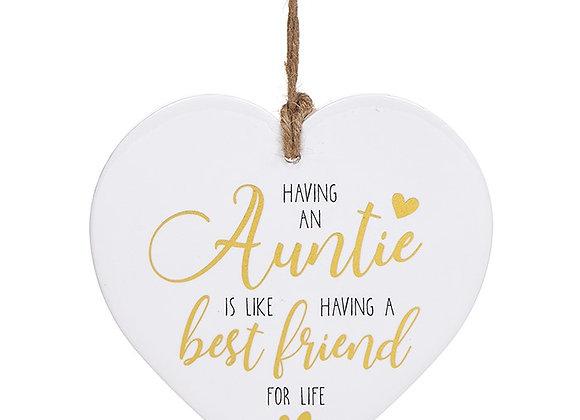 White Ceramic Heart Auntie
