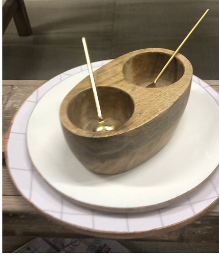 מלח פלפל עץ מנגו כפיות זהב