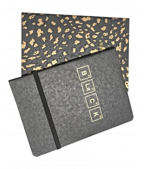 זוג מחברות זהב שחור ארוזים בחוט גומי