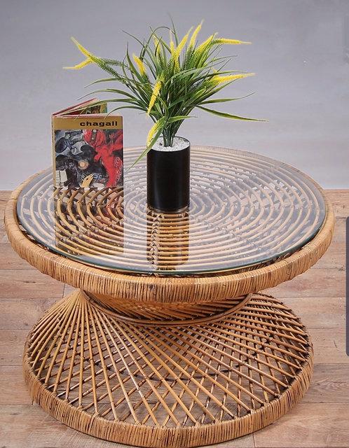 שולחן סלון מראטן טבעי עם משטח זכוכית