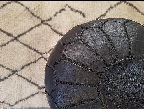 פוף מרוקאי עור שחור