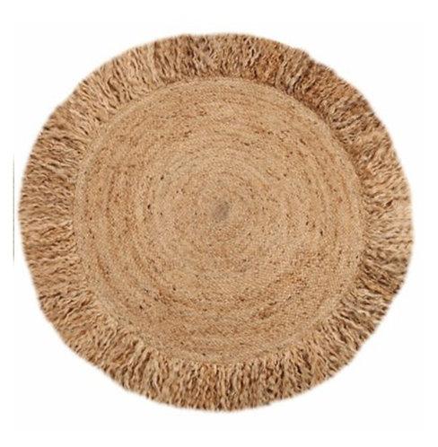 שטיח חבל טבעי עם פרנז'ים קוטר 150