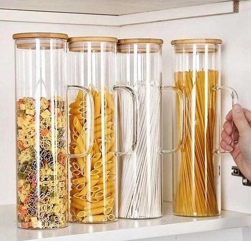 צנצנת אחסון זכוכית עם ידית