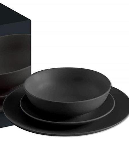 סט צלחות שחור מט
