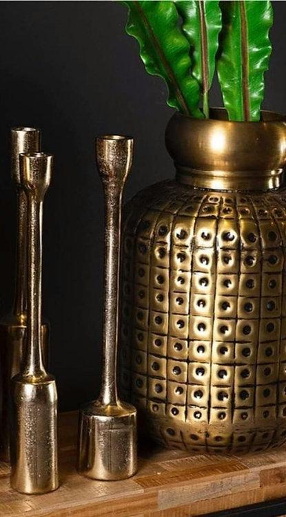 אגרטל מתכת גדול בגימור זהב בראס