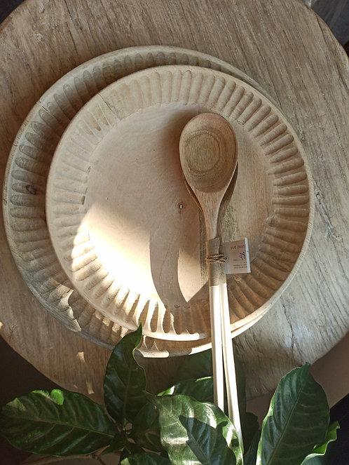קערת עץ מנגו מגולפת L