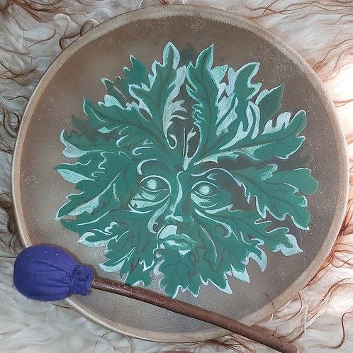"Green man shamanic/native American style 16"" Buffalo hide drum"