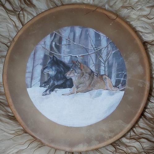 "Wolf Medicine Native American Style 16"" Shamanic Buffalo Hide Drum"