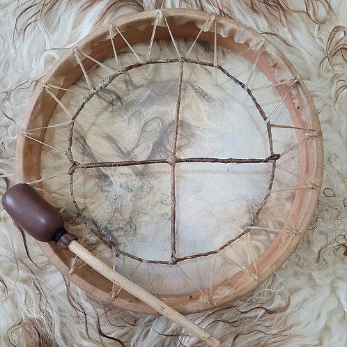 "16"" Buffalo Hide Shamanic Drum with Beater"