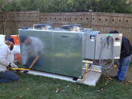 Our team fitting a chiller