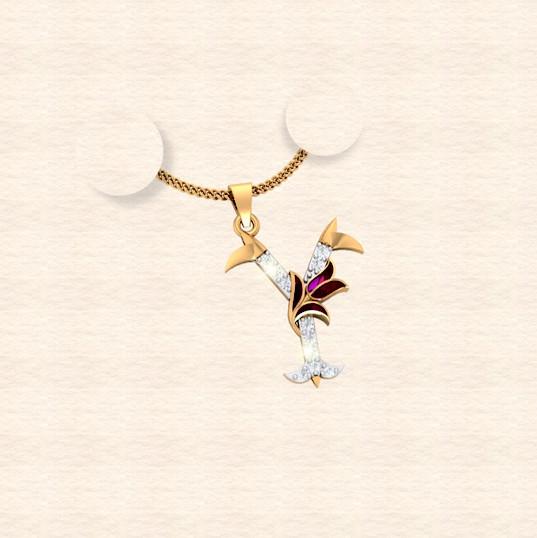 diamond alphabet letter Y pendant