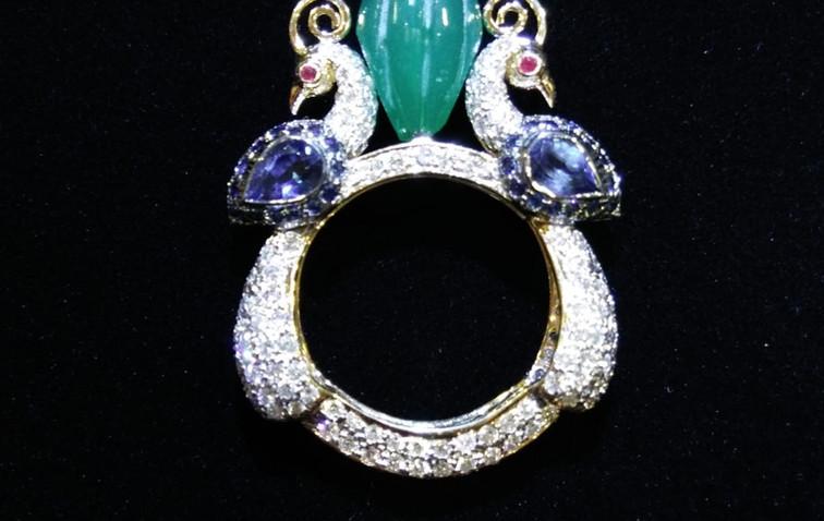 Peacock diamond ring