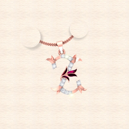 diamond alphabet letter Z pendant