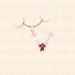 diamond alphabet letter V pendant