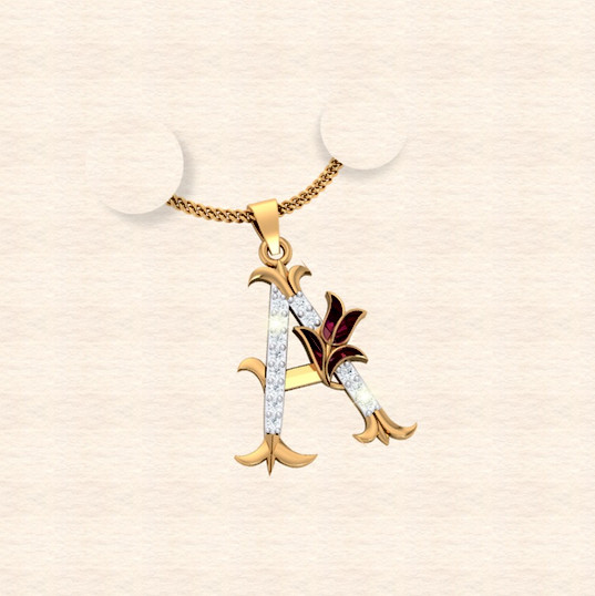 diamond alphabet letter A pendant