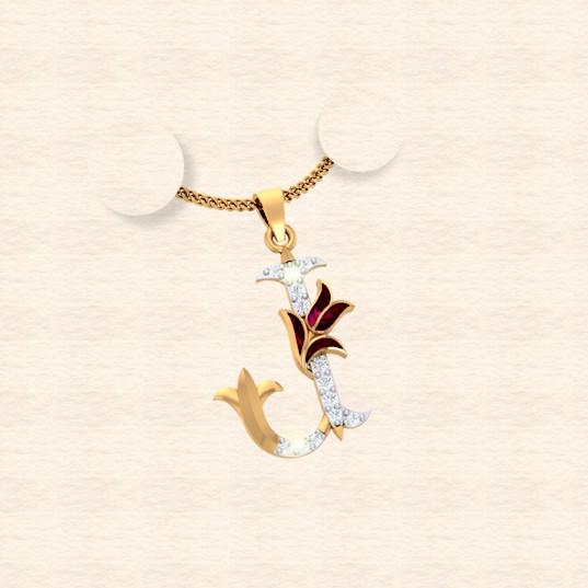 diamond alphabet letter J pendant