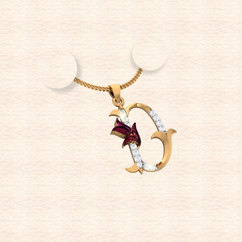diamond alphabet letter D pendant