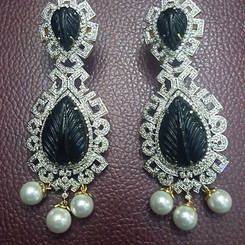 carved stone diamond long earring