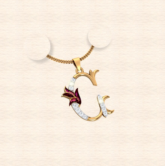 diamond alphabet letter C pendant
