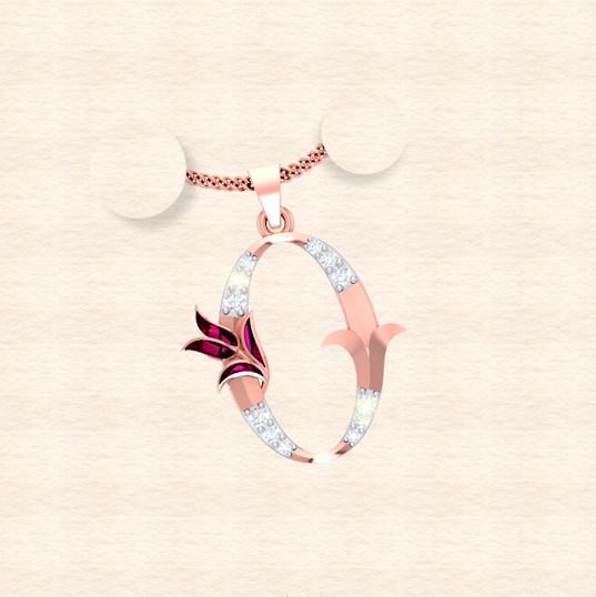 diamond alphabet letter O pendant