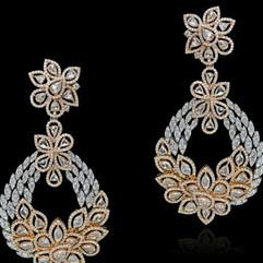 two tone diamond long earring