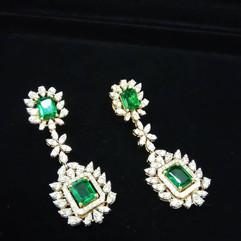 emerald long earring