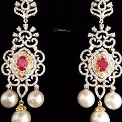 long diamond earring with pearl