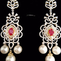 long diamond earring with pearl