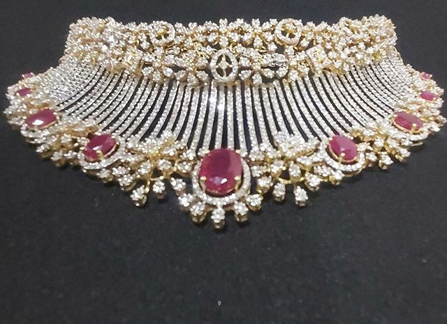 diamond choker set - ruby