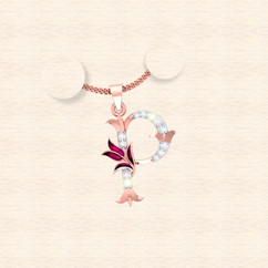 diamond alphabet letter P pendant
