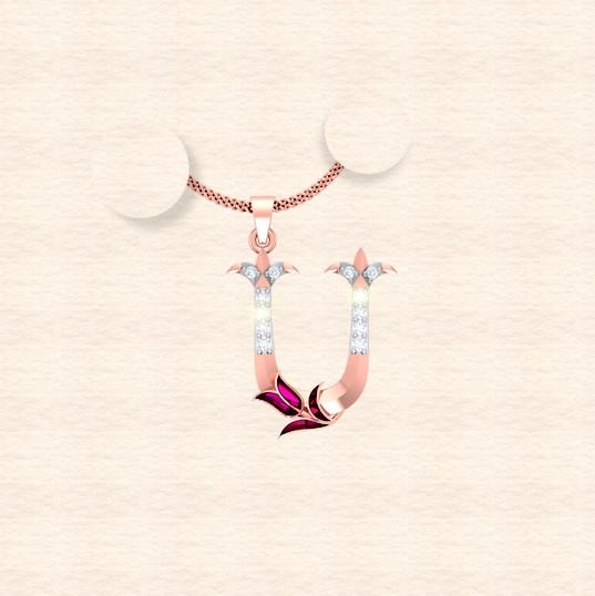 diamond alphabet letter U pendant