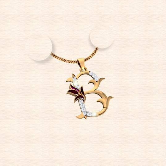 diamond alphabet letter B pendant