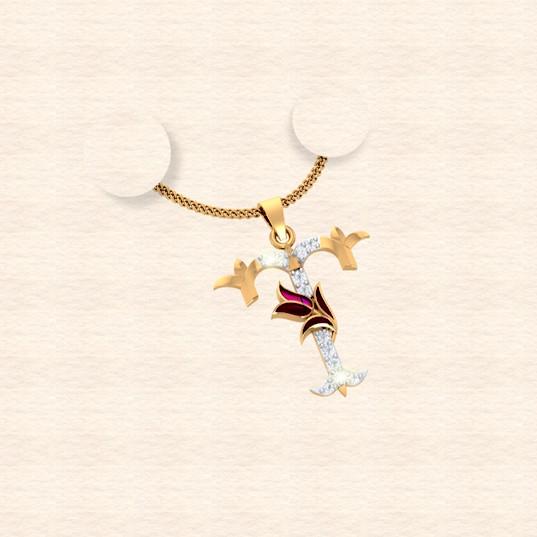 diamond alphabet letter T pendant