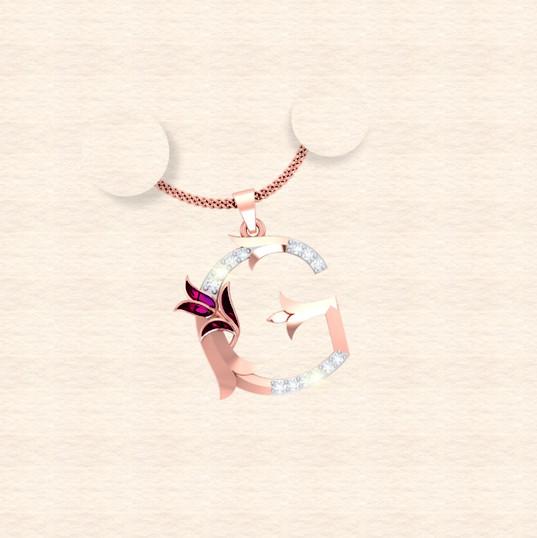diamond alphabet letter G pendant