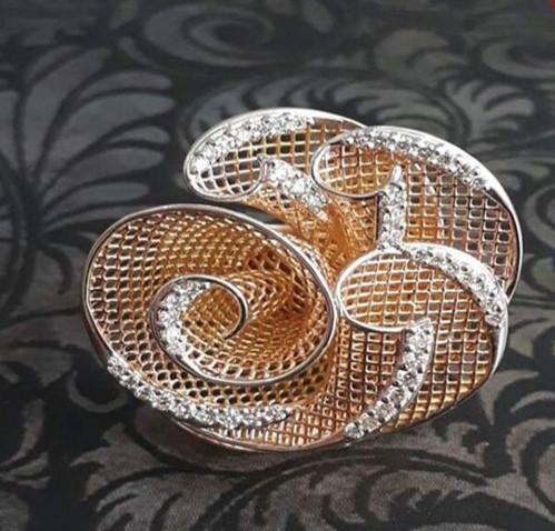 flower diamond ring mesh