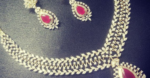 Elegance is style necklace set with ruby