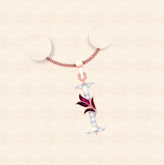 diamond alphabet letter I pendant