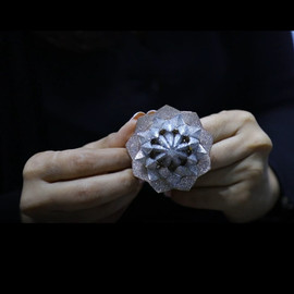 Ring with 7777 diamonds - top view