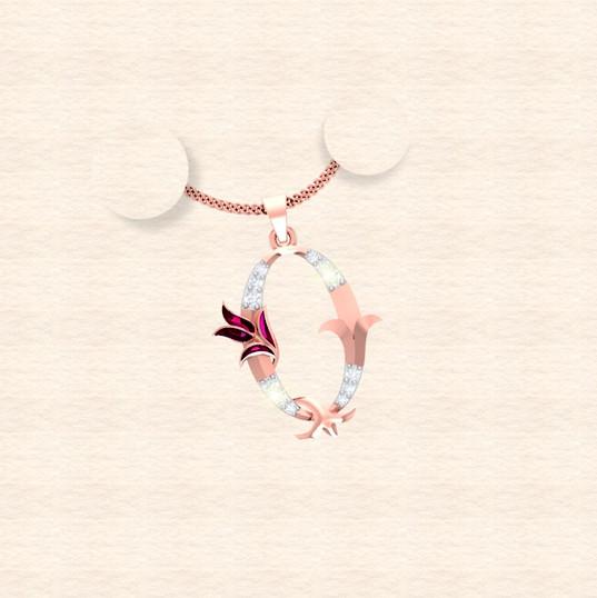 diamond alphabet letter Q pendant